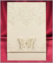 Dvoudílné rozkládací svatební oznámení s motýlkem 2692.