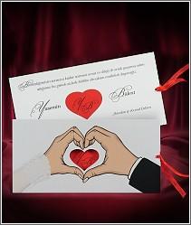 Vysouvací svatební oznámení s červeným srdcem a se srdcem z rukou 2700.