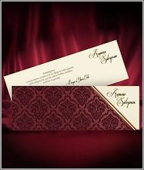 Vysouvací dvoudílné svatební oznámení se semišovou chlupatou rudou kapsou 2702.