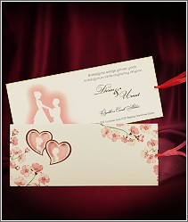Vysouvací dvoudílné svatební oznámení se siluetami snoubenců, srdíčky a květinami 2704.