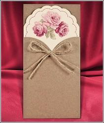 Vysouvací svatební oznámení s růžovými květy s kapsou z recyklovaného papíru 2709.
