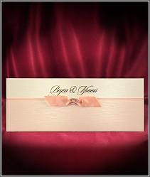 Luxusní světle růžové svatební oznámení se stužkou 2711.