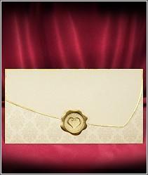 Jednodílné svatební oznámení ve tvaru poštovní obálky se zlatou pečetí 2715.