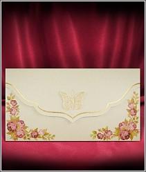 Rozkládací jednodílné svatební oznámení se zlatým motýlkem 2720.