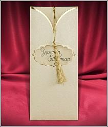 Vysouvací svatební oznámení se zlatým střapečkem 2723.