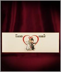 Legrační svatební oznámení s kapsou a postavičkami snoubenců 2724.