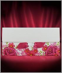 Rozkládací svatební oznámení s květinami a stužkou 2725.