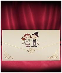 Jednodílné rozkládací svatební oznámení ve tvaru dopisní obálky s roztomilým obrázkem večerníčkových postaviček snoubenců 2727.