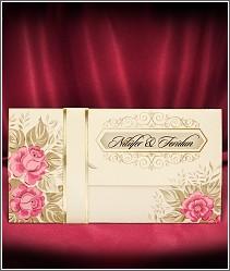 Rozkládací levné svatební oznámení s růžičkami 2731.