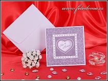 Fialové svatební oznámení se srdíčkem vzor 3167