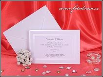 Svatební oznámení ve formě obdélníkové karty z bílého matného polokartonu vzor 3169