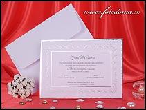 Svatební oznámení z bílého polokartonu se stříbrným rámem vzor 3181