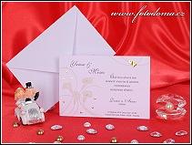 Svatební oznámení ve formě karty, na níž jsou znázorněny kaly vzor 3185