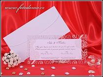 Svatební oznámení ve formě dvoudílné karty s průhledným dílem vzor 3204
