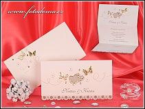 Svatební oznámení se zlatými motýlky ve formě rozkládací listiny vzor 3214