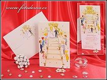 Vysouvací pohyblivé svatební oznámení s nevěstou a ženichem na schodech vzor 3219