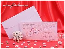 Bílé svatební oznámení se dvěma srdíčky vzor 3222