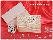 Rozkládací svatební oznámení se zlatě rámovaným srdíčkem a liliemi vzor 3232