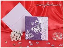 Fialové svatební oznámení se stříbrným motýlkem vzor 3234