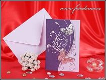 Rozkládací bílo fialové svatební oznámení se stříbrnými motýlky vzor 3238