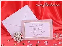 Svatební oznámení karta s béžovým rámečkem s listy jasanu vzor 3243