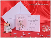 Cyklistické svatební oznámení karta vyrobená z bílého matného polokartonu vzor 3246