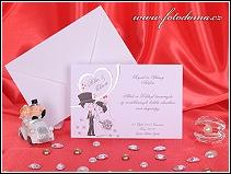 Svatební oznámení karta s postavičkami novomanželů vzor 3248