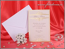 Svatební oznámení karta žluto béžového chamois odstínu s reliéfní ražbou vzor 3249