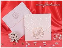 Svatební oznámení ve formě karty z matného bílého polokartonu vzor 3250