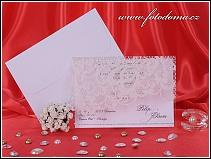 Bílé svatební oznámení s třpytivou krajkou natištěnou na fólii vzor 3251