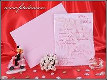 Růžové svatební oznámení v průhledném přebalu s motýlky vzor 3253