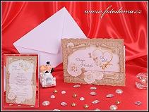 Svatební oznámení ve formě skládací listiny s květy růží vzor 3262