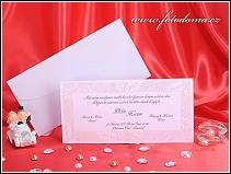 Obdélníkové bílé svatební oznámení s perleťovým rámečkem vzor 3264