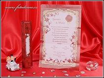 Svatební oznámení listina s červeným rámečkem vzor 3265