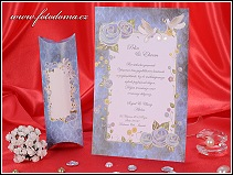 Bílo modré svatební oznámení listina s holubicemi vzor 3274