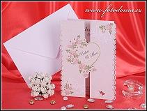 Rozkládací svatební oznámení s velkým srdíčkem ozdobeným květy růží vzor 3282