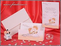 Veselé rozkládací svatební oznámení s ženichem v chomoutu vzor 3283