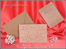 Svatební oznámení ve formě skládací listiny z matného polokartonu béžové barvy vzor 3285