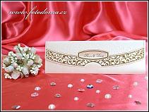Jednodílné rozkládací zlatě zdobené svatební oznámení vzor 3286