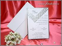 Svatební oznámení karta z bílého matného polokartonu vzor 3303
