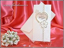 Luxusní rozkládací svatební oznámení ze silnějšího matného jednostranně strukturovaného polokartonu v chamois odstínu vzor 3317