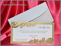 Svatební oznámení se zlatým zdobeným rámečkem vzor 3318