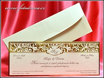 Svatební oznámení karta z perleťově zlatavého polokartonu vzor 3323