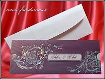 Vysouvací fialové svatební oznámení se stříbrnou výzdobou vzor 3329