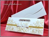 Otevírací svatební oznámení se zlatou reliéfní ražbou květin vzor 3336