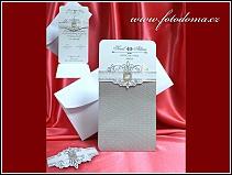 Otevírací svatební oznámení se stříbrnými prvky vzor 3341