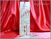 Stříbřitě perleťové vysouvací svatební oznámení s novomanželským párem v úzké historické uličce vzor 3348