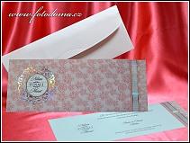 Vysouvací růžové svatební oznámení s přebalem vzor 3352