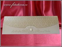Rozkládací zlatavě perleťové svatební oznámení s ornamenty a se srdíčkem vzor 3353