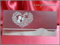 Rozkládací svatební oznámení se siluetami snoubenců vzor 3357